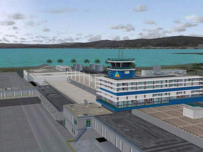 A slide showing Norman Manley Airport's new departure terminal design.