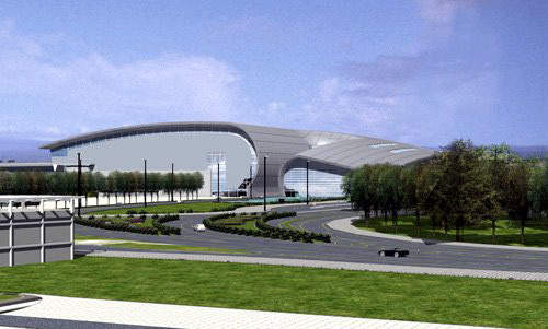 Terminal two from the landside. T2 will be served by its own dedicated arrivals and departures roads and will comprise a check-in hall and a departures hall connected by a bridge that forms the central spine of the building.