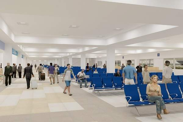 Interior concept design of the expanded departure hall.
