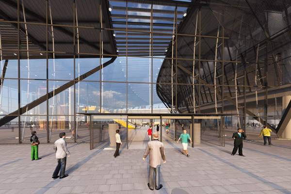 The terminal's design includes sloping facades and attractive outer walls.