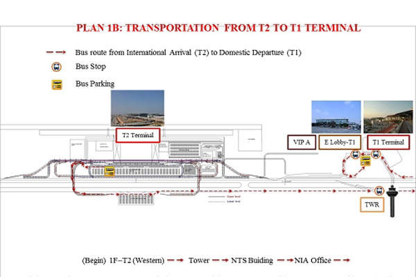 Passengers can use shuttle bus to move between T1 and T2. Image courtesy of Airports Corporation of Vietnam.