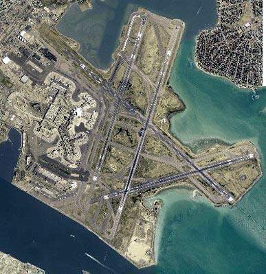 The runway arrangement at Boston Logan Airport, which is surrounded by water on three sides.