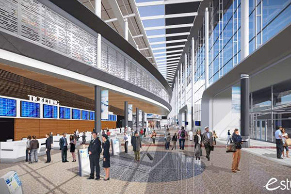 Rendering of tech-friendly ticketing lobby at the new Terminal D. Image: courtesy of Houston Airport System.
