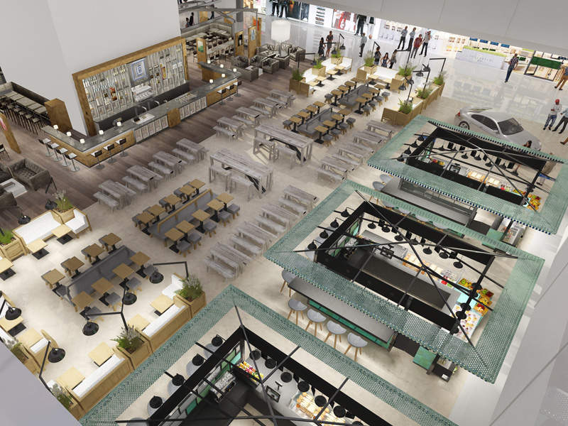 The satellite terminal features retail and dining options at its centre. Image courtesy of Flughafen München.