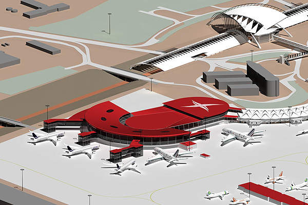 The Terminal 1 and Terminal 3 extension plan.  Image courtesy of Aéroports de Lyon.