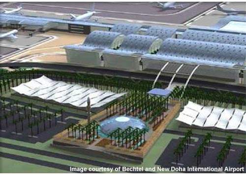 Hamad International Airport terminal building with the airport mosque and surrounding parking area. Credit: Bechtel and New Doha International Airport.