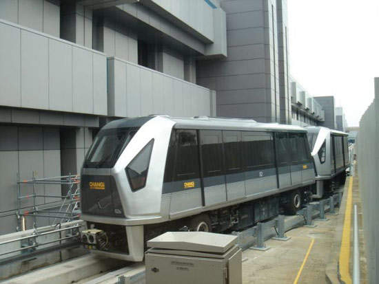 The SkyTrain people mover at the Singapore Changi Airport has three stations inside the new terminal.