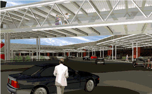 An artist's impression of the pedestrian walkways and terminal access improvements at Baltimore Washington International Airport.
