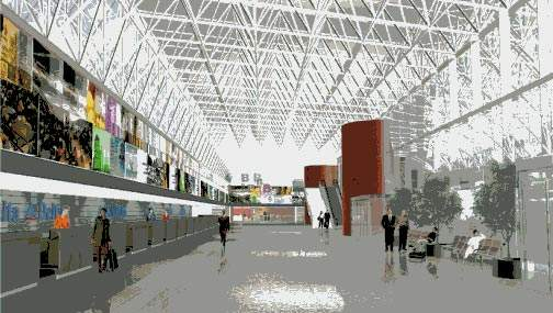 An artist's impression of the inside of the terminal building at Baltimore/Washington International Airport.