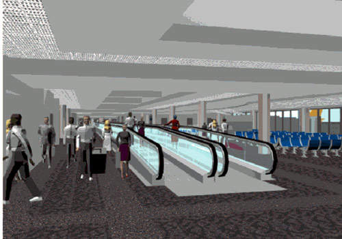 The expansion Baltimore-Washington International Airport includes the installation of moving walkways.