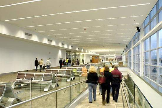 Adelaide International Airport's new Multi-User Integrated Terminal opened in October 2005.