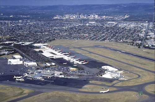 An aerial view showing the position of Adelaide airport's new terminal building.