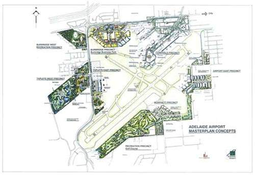 A map showing Adelaide airport's future development plans.
