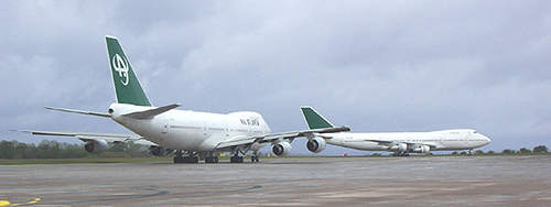 Wide-bodied aircraft using the new taxiway.