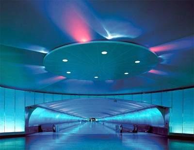 The colour shifting luminous ceiling lighting in the McNamara terminal.