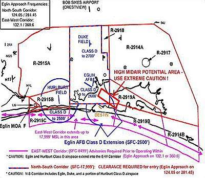 Air map showing the at-risk areas above the airport.