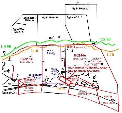 Map showing the areas covered by local air traffic control.