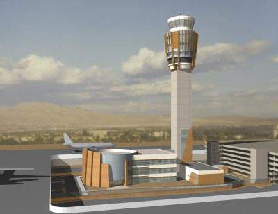 Computer-generated image of the new air traffic control tower.