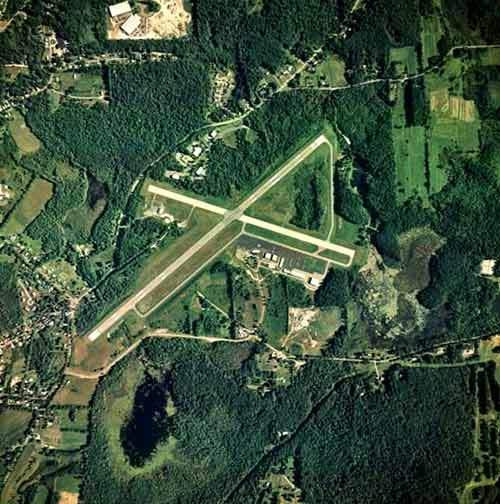 Aerial view of Pittsfield Municipal Airport.
