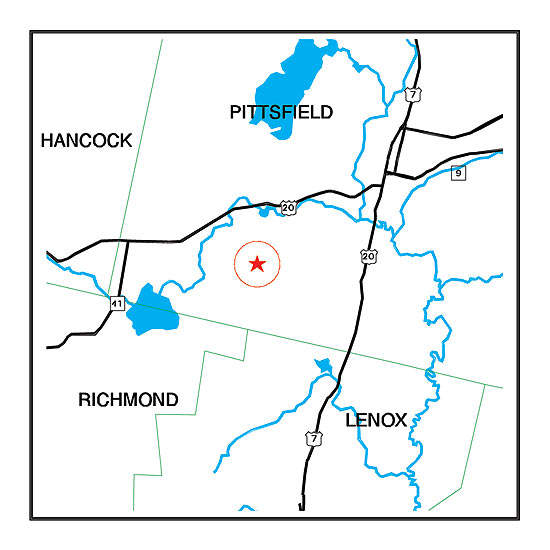 Map showing location of Pittsfield Municipal Airport.