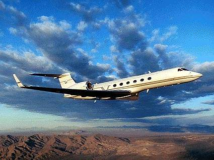 Gulfstream V corporate aircraft, the largest plane the airport can accommodate.