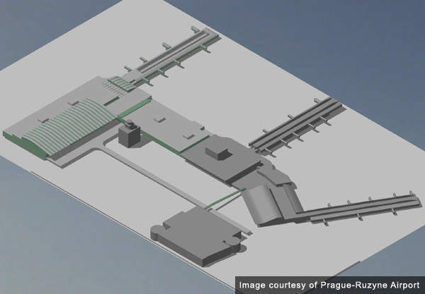 Model of the airport terminals including the new additions.