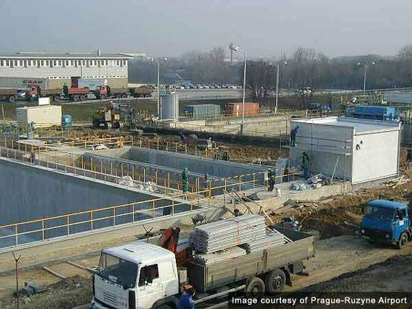 Construction of the water purification facility.