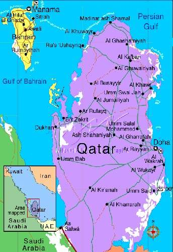Map of Qatar, showing where Doha is situated.