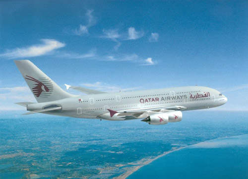A Qatar Airways Airbus A380-800.