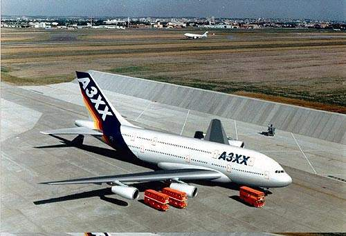 An A380-800 superjumbo on the ground on a hard standing, similar to the ones to be built at Doha.
