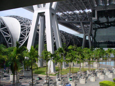 The landscaping around Suvarnabhumi Airport blends the engineering with the impressive natural surroundings.