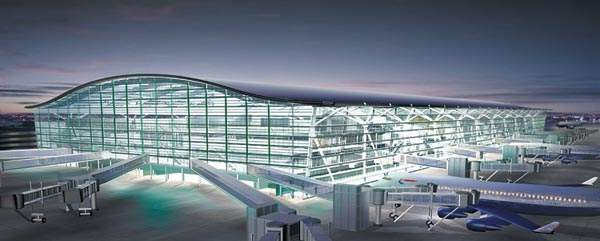 Artist's impression of the new Terminal 5 at Heathrow Airport. The terminal opened in April 2008 and the second phase opened in 2011.