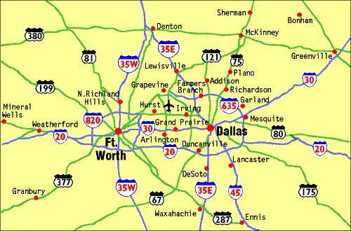 Map showing the location of Dallas / Fort Worth International Airport.