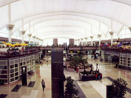The interior of Denver International Airport was one of the many controversial aspects of the project; the architect was changed during the project.