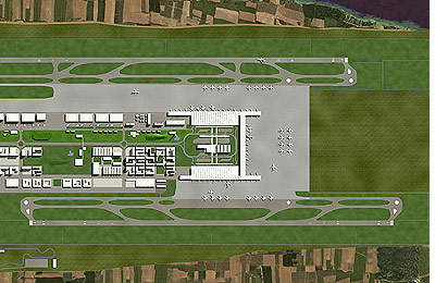 Plan of runways and taxiing areas at the new Bangalore International Airport.