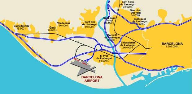 A map showing the position of Barcelona International Airport and the major surrounding population centres.