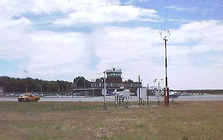 The air traffic control tower at New Bedford airport.