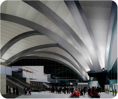 The interior of Beihai Fucheng Airport has soaring arches. The design of the airport is expected to match international standards.
