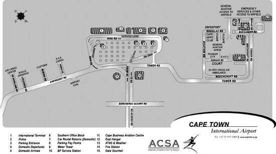 Map of Cape Town International Airport.