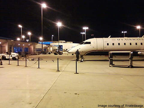 A ramp area at the airport.