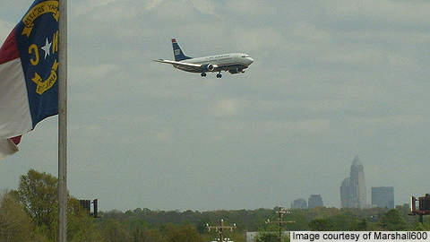 An aircraft landing at Charlotte Douglas International Airport.