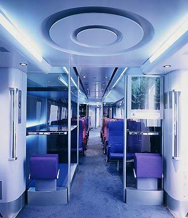 Heathrow Express passenger coach interior.