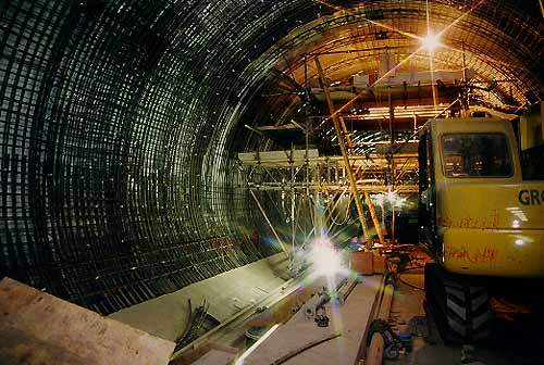 Construction work on the 5-mile tunnel section of the line under the airport.