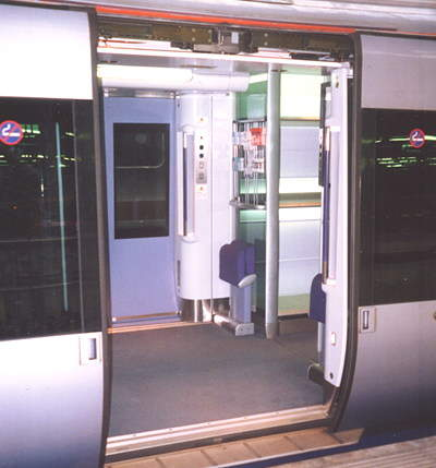 The trains' sliding doors, through which access onto and off of platforms is almost level.