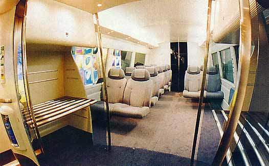 The train's interior.