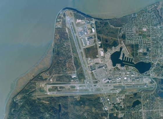 Aerial view of Anchorage airport