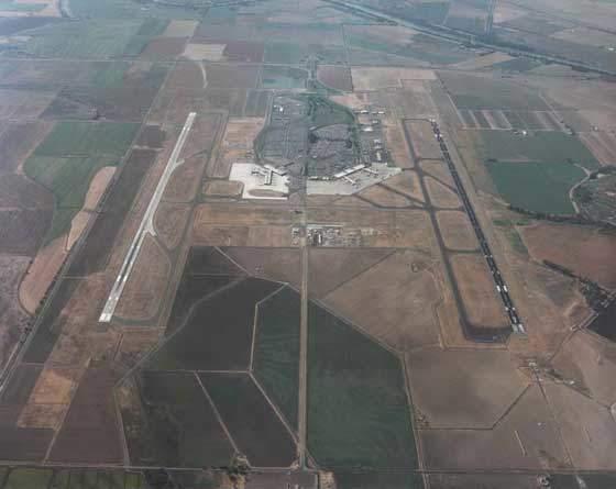 Aerial view of Sacramento International Airport.