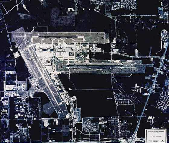 Aerial view of George Bush Intercontinental Airport.