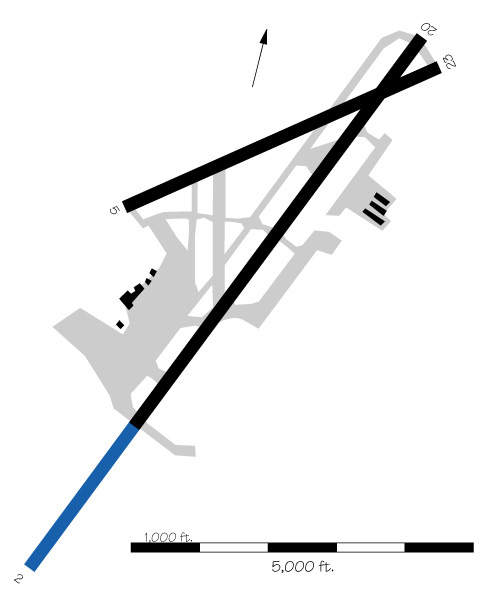 Layout of Kahului airport. The blue areas represent the expansions.