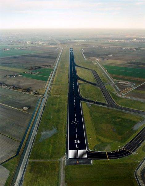 The new main runway at Amsterdam Airport Schiphol became fully operational in 2003.